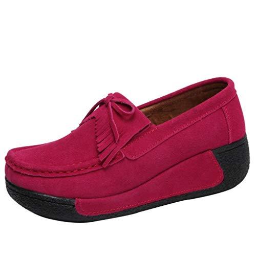 Women Comfortable Hot Flat Fashion Breathable Sports Shoes Shake Shoes Leisure Head FALAIDUO Tassel Round Pink 5q8AO