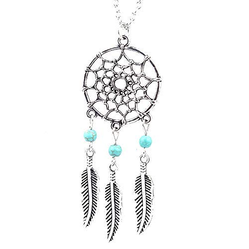 Haluoo Boho Tassel Necklace, Women Ladies Sterling Silver Plated Silver Handmade Dreamcatcher Necklace Girl Bohemian Tassel Feather Vintage Blue Gemstones Pendant Long Sweater Chain Necklace (Silver) -