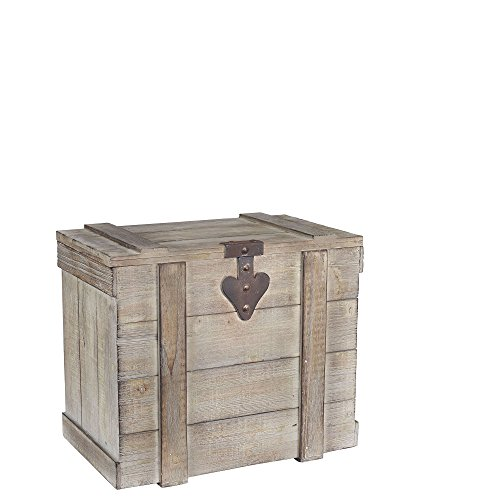 Household Essentials White Washed Rustic Decorative Wooden Trunk, ()