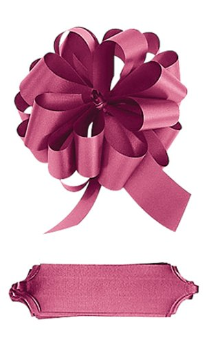 Count of 50 Textured Double Sided Satin Pull Bows - Burgundy 5½†W x 20 Loops