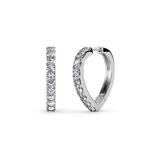 (Cate & Chloe Waverly Carefree 18k White Gold Plated Chandelier Hoop Earrings Swarovski Crystals - Beautiful Swarvoski Crystals Earring Set, Wedding Anniversary -)