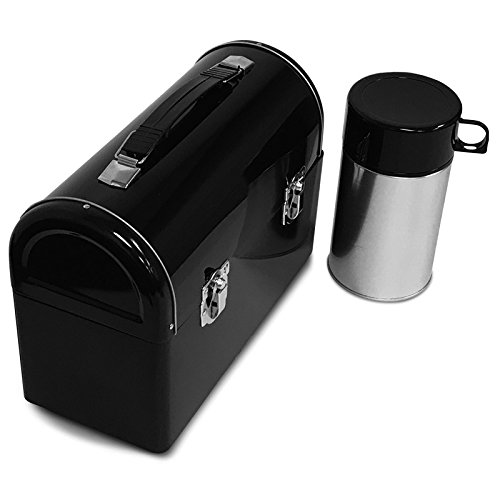 Plain Metal Dome Lunch Box and Thermos Bottle - Black Color