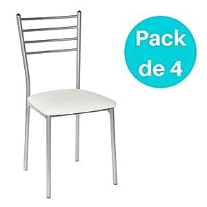 lote de 4 sillas de cocina basik blanca hogar