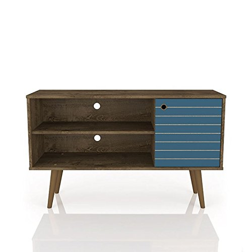 ModHaus Living Mid Century Modern TV Stand Media Cabinet with 2 Open Shelves and 1 Door - Includes Pen (Rustic Brown and Aqua Blue)