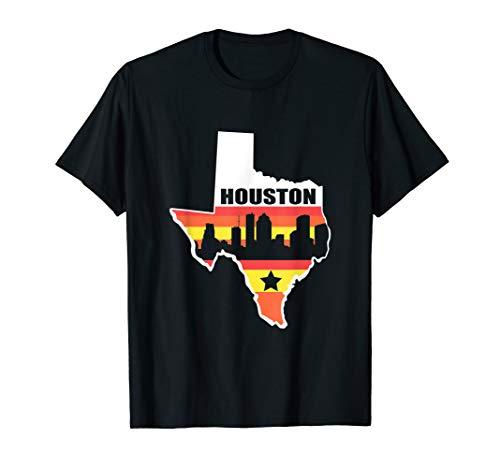 Houston Texas Shirt Vintage State Flag Houston Skyline]()