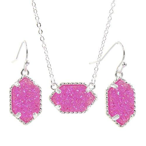 (YUJIAXU Framed Oval Faux Druzy Chic Choker Necklace + Drop Earrings Jewelry Set Women's Super (Silver Violet))