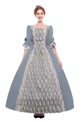 c3fcb3c311ad ROLECOS Womens Royal Vintage Medieval Dresses Lady Satin Gothic Masquerade  Dress Grey -