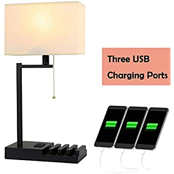 Hompen Table Lamp Desk Lamp With Cream Lampshade 3 Usb
