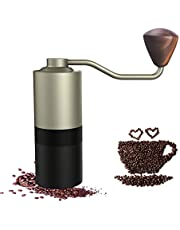 Manual Coffee Grinder Hand Grain Mill with Hand Adjustable Setting Conical Stainless Steel Whole Bean Burr Mill for Aeropress, Drip Coffee, Espresso, French Press, Turkish Brew(Extreme gold)