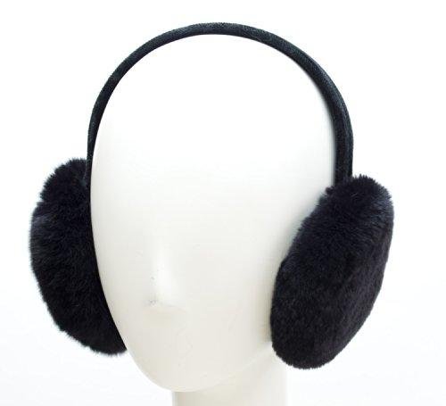 Rabbit Fur Muff (Rex Rabbit Fur Earmuffs on Velvet Band (Black))