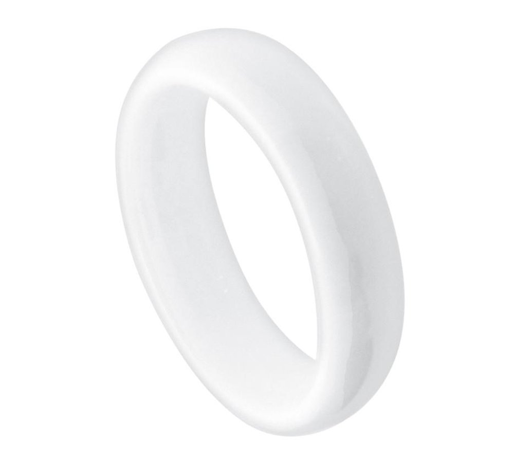 5mm White Ceramic Domed High Polished Wedding Band Ring For Men Or Ladies