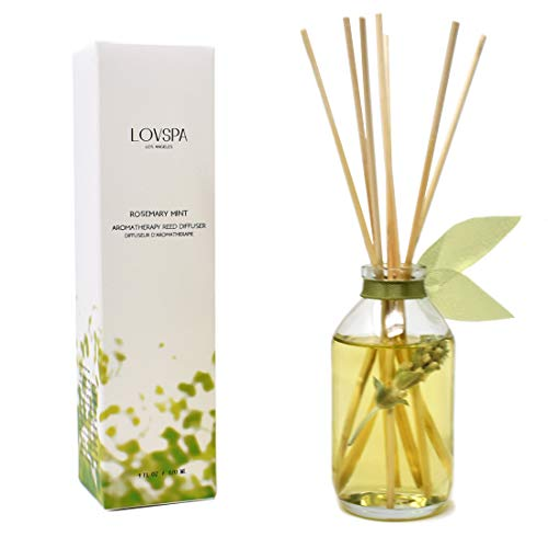 LOVSPA Rosemary Mint Herbal Deluxe Reed Diffuser Oil Set Room Freshener | Relaxing Scent – Rosemary, Spearmint, Sandalwood, Amber & Earthy Patchouli | Made with Real Botanicals & Essential Oils