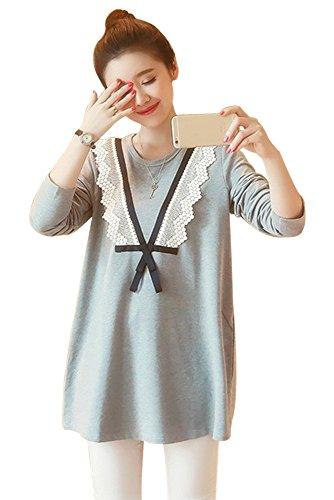 横カードスタッフZEVONDA レディーズ 女性 蕾糸 レース vネック 長袖 授乳 哺乳 ママ 妊婦服 ドレス ワンピース