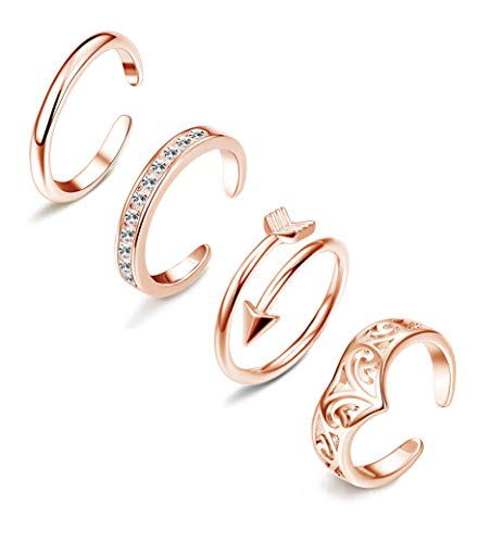 LOLIAS 4-8Pcs Open Toe Rings for Women Girls Arrow Adjustable Toe Band Ring Gifts Jewelry Set (G:4 pcs Rose Gold)