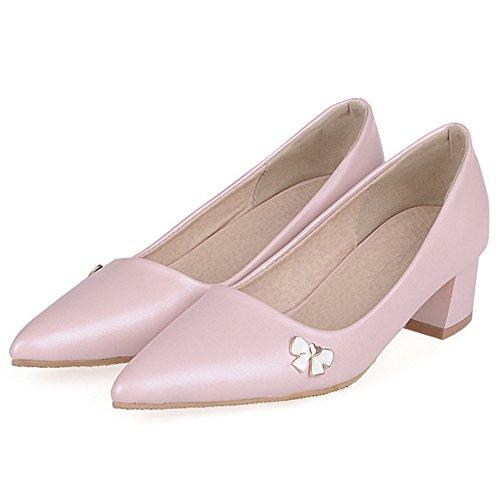 COOLCEPT Mujer Moda Simple Tacon Ancho Cerrado Puntiagudo Court Zapatos Pink