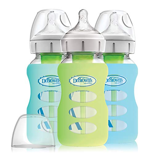 Dr. Brown's Options+ Wide-Neck Glass Baby Bottles in Silicone Sleeve, Mint/Green/Blue, 9 Ounce, 3 Count