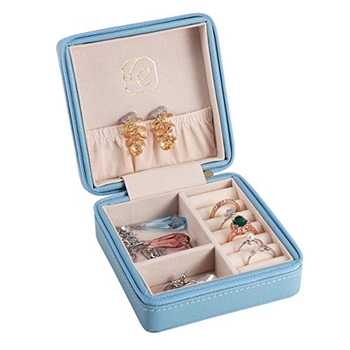 Leather Jewelry Organizer Ladies - JL LELADY JEWELRY Small Jewelry Box Organizer Mini Travel Jewelry Case Portable Faux Leather Jewelry Organizer Boxes Storage Holder for Women Girls (Blue)