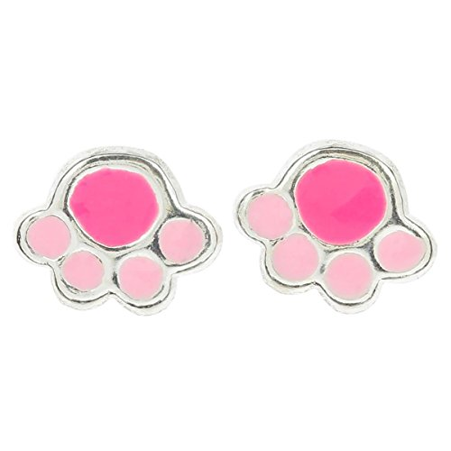 Pink Panther Ears (So Chic Jewels - Girls Sterling Silver - Pink Panther Imprint Stud Earrings)