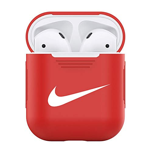 AirPods Case Protective Silicone Cover and OSMspace Skin for Apple Airpods Charging Case (Red)