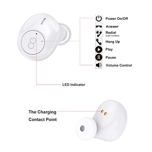 Wireless Earbuds, Losei True Bluetooth Headphones HD Stereo Mini In Ear Wireless Earphones V4.2 Headset with Built-in Mic and Charging Case for iPhone Samsung iPad and Most Android Phones(White)