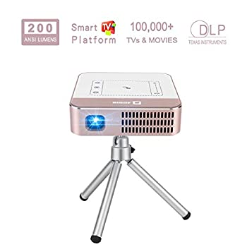 Image of AODIN Wow 200 ANSI Lumens Portable Projector, Mini LED WiFi Smart Projector, Outdoor Movie Projector, 300' Bright & Clear Image, Stereo Speaker, Support Smartphone, Tablet, Laptop, PC, 2 Hours Working Video Projectors