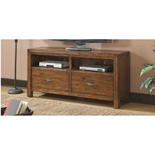 Emerald Home Chambers Creek Brown TV Console with Two Drawers And Open Shelving