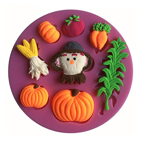FantasyDay 2 Pack Halloween Pumpkin Witch Silicone Cake Mold Chocolate Sugarcraft Decorating Fondant Tool for Your Soap, Mini Teacake, Fondant, Candy, Ice Cube, Candy, Cookie, Gummy and More #7 ()