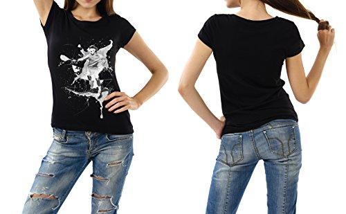 Tennis_IV schwarzes modernes Damen / Frauen T-Shirt mit stylischen Aufdruck