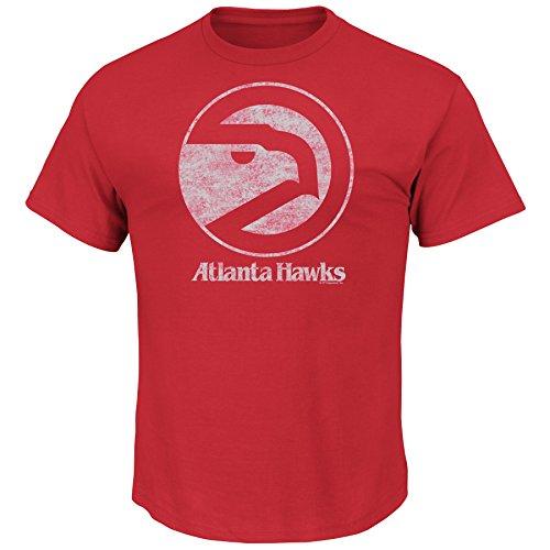 NBA Atlanta Hawks 197-95 Men's Weathered Post Up Kaa Short Sleeve Basic Crew Neck T-Shirt, Red, XX-Large