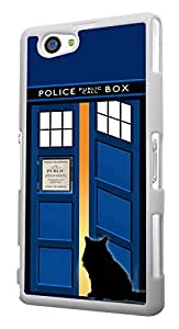 453 - Doctor Who Tardis Call Box Cat Open Door Design For Sony Xperia Z4 Compact Fashion Trend CASE Back COVER Plastic&Thin Metal