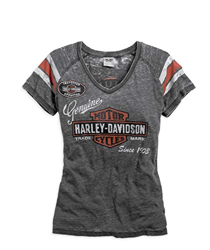 Harley-Davidson Official Women's Genuine Oil Can Burnout Tee, Grey (Medium)