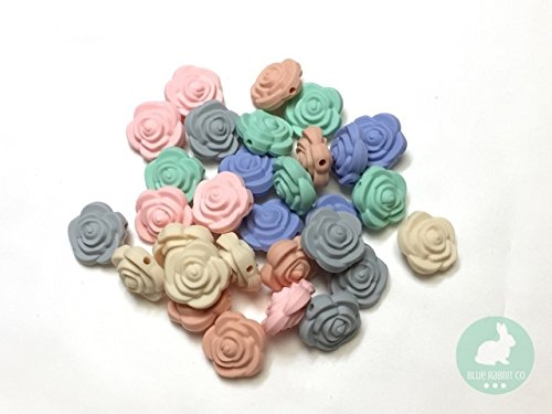 Flower Shaped Silicone Bead for Making Toys, Teethers, Bracelets and Jewelry | DIY Sensory, Nursing & Chew Necklaces (80 Pastel, 30 PC) -