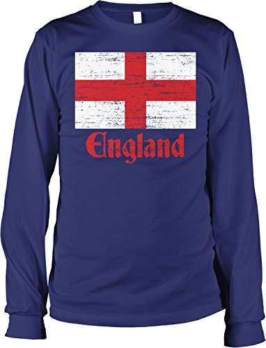 - NOFO Clothing Co Flag of England, St George's Cross, English Men's Long Sleeve Shirt, XL Navy