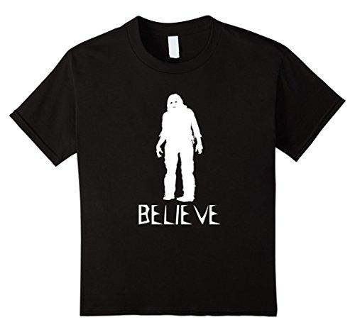 Kids Believe Bigfoot Sasquatch - Scary Halloween Costume T Shirt 8 Black (Bigfoot Costumes For Kids)