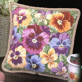 Pansies Galore Pillow - Needlepoint Kit