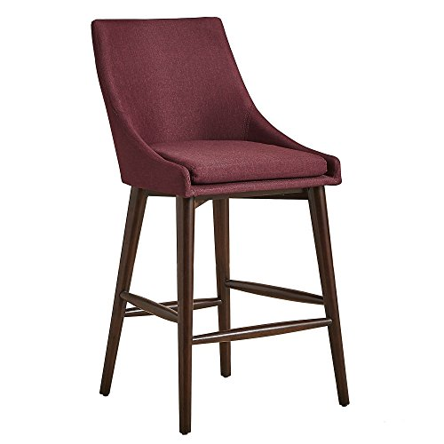 Mid Century Modern Linen Upholstered Oak Barrel Back Counter Stools with Dark Espresso Finish Tapered Wood Legs (Set of 2) - Includes Modhaus Living Pen (Red)