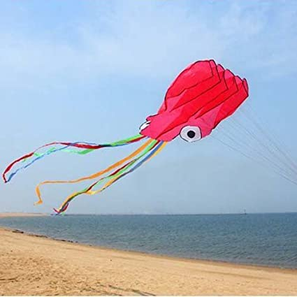 Extra 328 Feet of Line Mayco Bell Octopus Portable Kite Nylon /& Polyester Material Perfect Toy for Kids and Children Outdoor Games Activities Black Fold-able Large 28 x 157 Inches