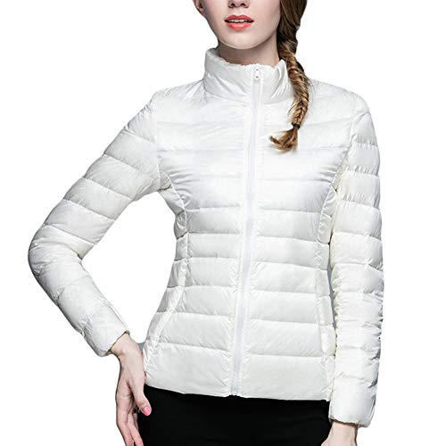 Chaqueta Ligero Plumón de Mujer Portátil Abrigo Blanco Plumas LaoZanA ZSqP464