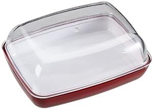 Emsa 505260 Butterdose, Kunststoff, 13.5 x 10 x 6 cm, Transparent/Rot, Vienna