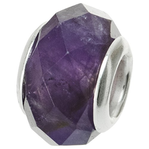Dreambell 925 Sterling Silver Natural Amethyst February Birthday Faceted Bead For European Charm ()