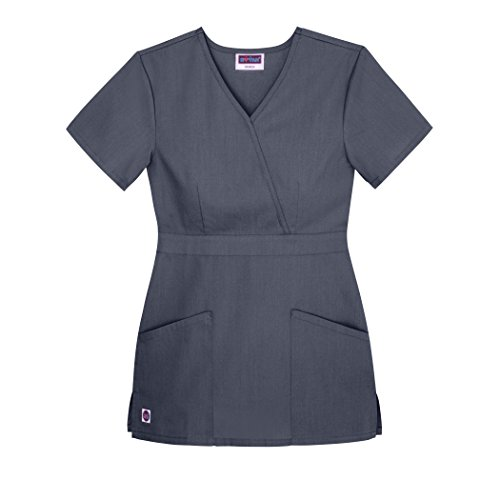 Gray Scrub Cap - Sivvan Women's Scrubs Mock Wrap Top (Available in 12 Colors) - S8302 - Charcoal - 3X
