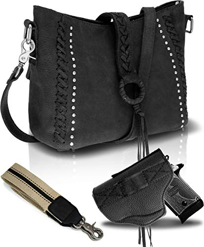 Medium Genuine Cowhide Leather Concealed Carry Crossbody Purse for Women-Studded With Shoulder Strap and Holster