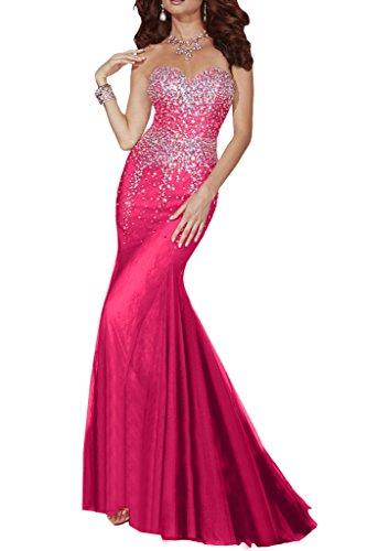 Pink Lang Traegerlos Damen Meerjungfrau Herzform Missdressy Tuell Abendkleid Rqgxw1