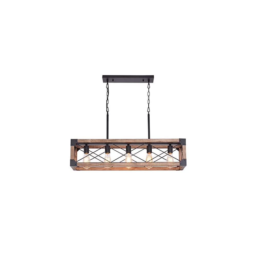 Bribyit Kitchen Island Lighting, 33.5-Inch 5 Lights Farmhouse Linear Chandelier for Dining Room Pool Table Pendant Light…