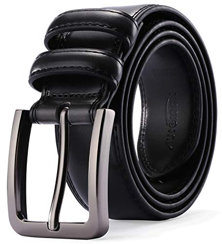 Black Classic Gift Box - Mens Belt - Autolock Genuine Leather Dress Belt - Classic Casual Belt for Men in Gift Box