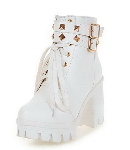 AllhqFashion Womens High-Heels Soft Leather Low-Top Solid Zipper Boots with Rivet, White, 42