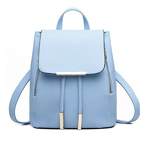 School Box Womens (Fashion Backpack AfterSo School Teens Girls Small Satchels Purse with Pom Pom (One size, Blue-6A))