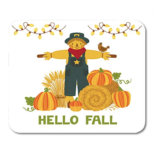 Emvency Mouse Pads Autumn Pumpkins Hay Bale Wheat Sheaf Scarecrow and Text Hello Fall Bright Harvest Festival Mousepad 9.5