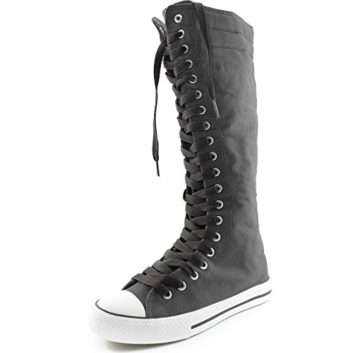 DailyShoes Womens Canvas Mid Calf Tall Boots Casual Sneaker Punk Flat, Classic Black Grey Boots, Classic Black Lace