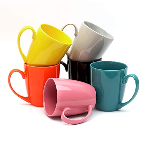 14 Ounce Set - Hsofblues Coffee Mug Set 14oz for Tea, Hot Cocoa, Mocha, Cappuccino, Espresso, Lattes,Decaf, Set of 6, Colorful (Blue,Yellow,Orange,Pink, Black, Gray)